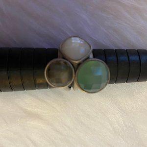 Women's Size 7.5 Silver Ring w/  multi color